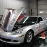 Silver 2006 Corvette dyno testing