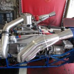 Closeup of drag car engine