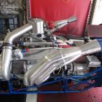 Closeup of drag car engine